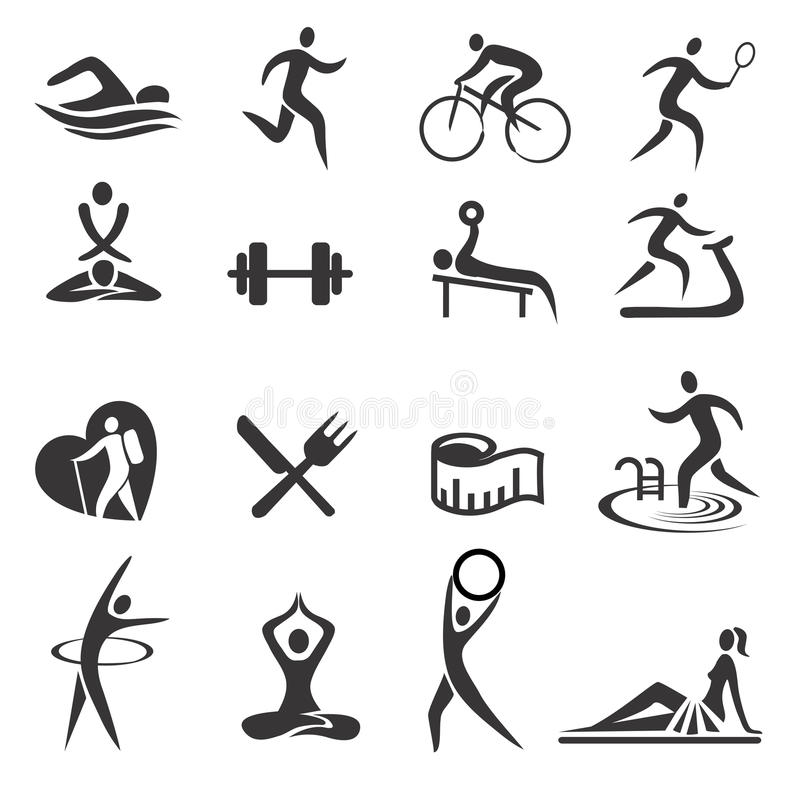 Healthy_ lifestyle_sport_icons 皇族释放例证