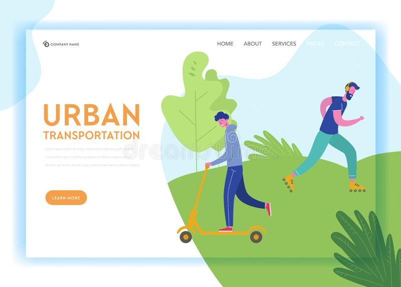 Healthy Lifestyle Sport People Landing Page Template. Sports and Recreation Concept with Man Character Riding scooter. Skateboarding in Park for Website or Web vector illustration