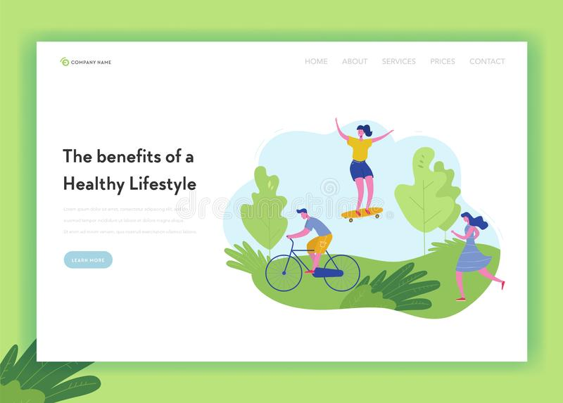 Healthy Lifestyle Sport People Landing Page Template. Sports and Recreation Concept with Man and Woman Character Riding Bike. Skateboarding, jogging in Park stock illustration