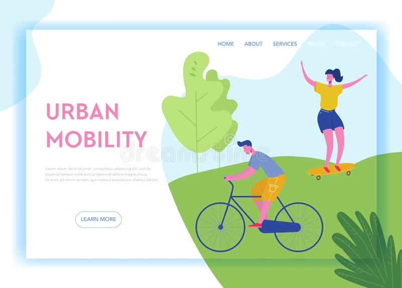Healthy Lifestyle Sport People Landing Page Template. Sports and Recreation Concept with Man and Woman Character Riding bike. Skateboarding in Park for Website royalty free illustration