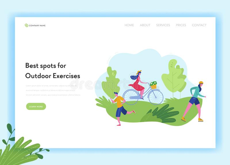 Healthy Lifestyle Sport People Landing Page Template. Sports and Recreation Concept with Man and Woman Character Riding Bike. Skiing, jogging in Park for stock illustration