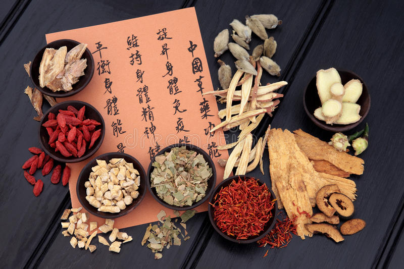Healthy Lifestyle. Traditional chinese herbal medicine selection with mandarin calligraphy. Translation describes the medicinal functions to increase the bodys stock photography