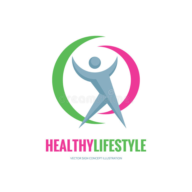 Healthy lifestyle - vector logo template concept illustration. Human character sign. People icon. Fitness sport insignia. Design elements vector illustration