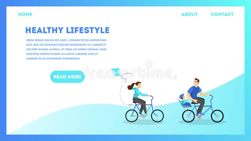 Healthy lifestyle web banner concept. Couple of people. Riding bicycle. Web page design. Summer outdoor activity. Person ride bike. Vector illustration in stock illustration