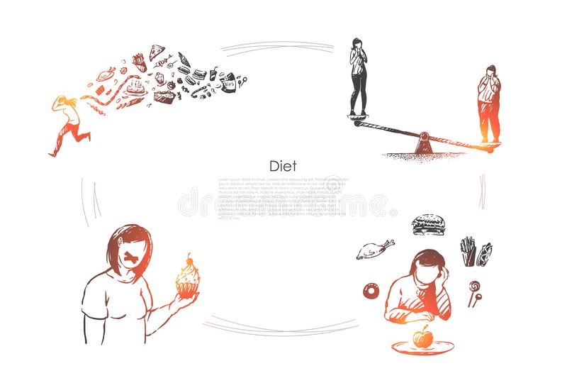 Healthy lifestyle, weight loss, calories control, woman eating fruits and vegetables, vegetarian food banner template royalty free illustration