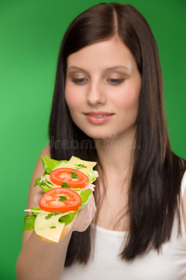 Download Healthy Lifestyle - Woman Enjoy Cheese Sandwich Stock Photo - Image: 18893012