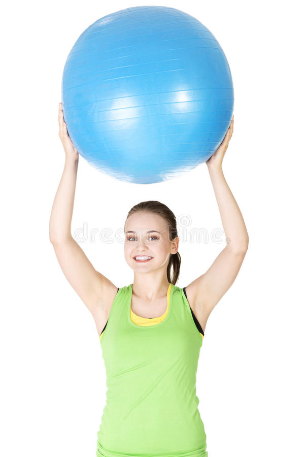 Healthy lifestyle woman with pilates exercise ball. stock image