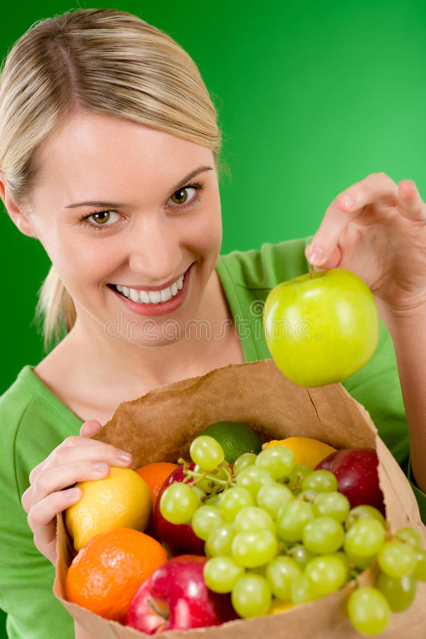 Free Healthy Lifestyle - Woman With Fruit In Paper Bag Royalty Free Stock Images - 18361049