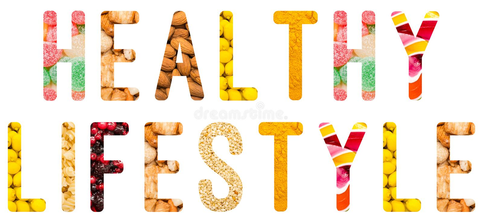 Healthy Lifestyle Word Concept Isolated. Made From Food Ingredients stock illustration