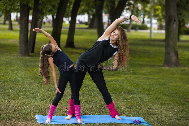 Healthy lifestyle. Yoga exercise outdoors royalty free stock images
