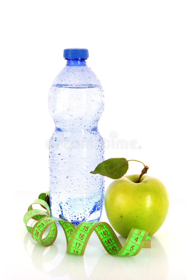 Healthy living. Requires water, fruits and exercise royalty free stock photo