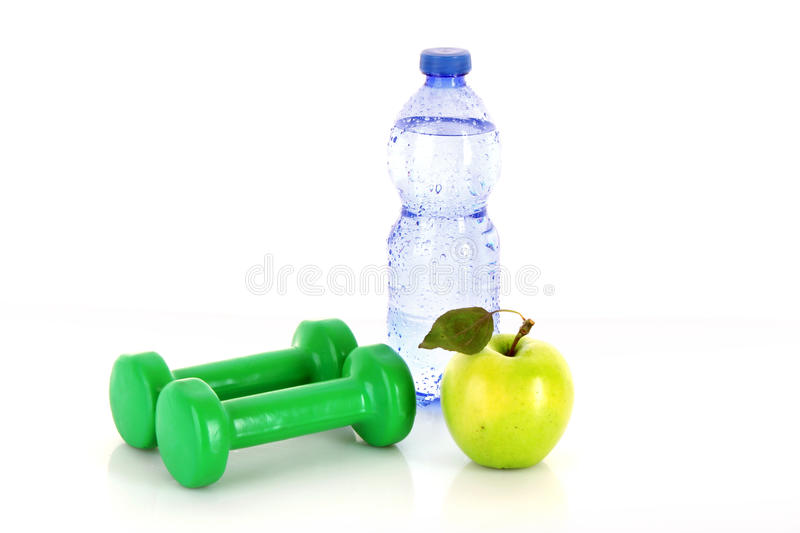 Healthy living. Requires water, fruits and exercise stock photography