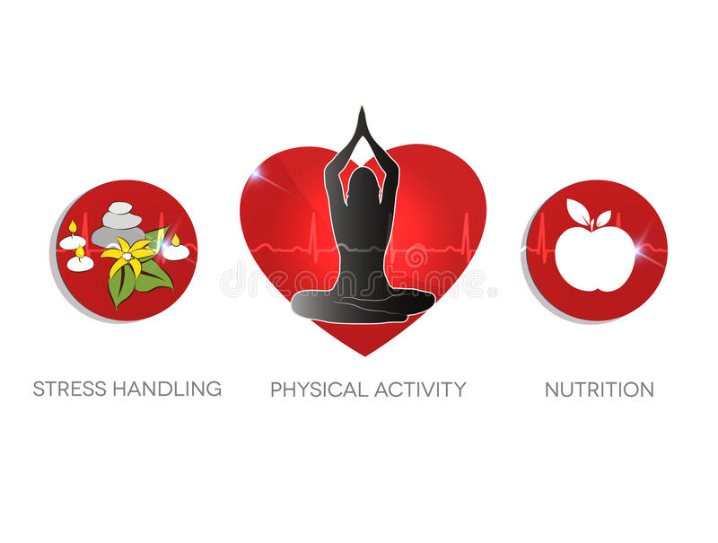 Healthy living advice symbols. Stress handling, physical activities and healthy diet. vector illustration