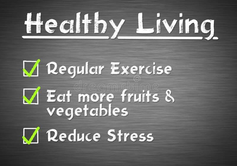 Healthy Living. Checklist written on blackboard royalty free stock photography