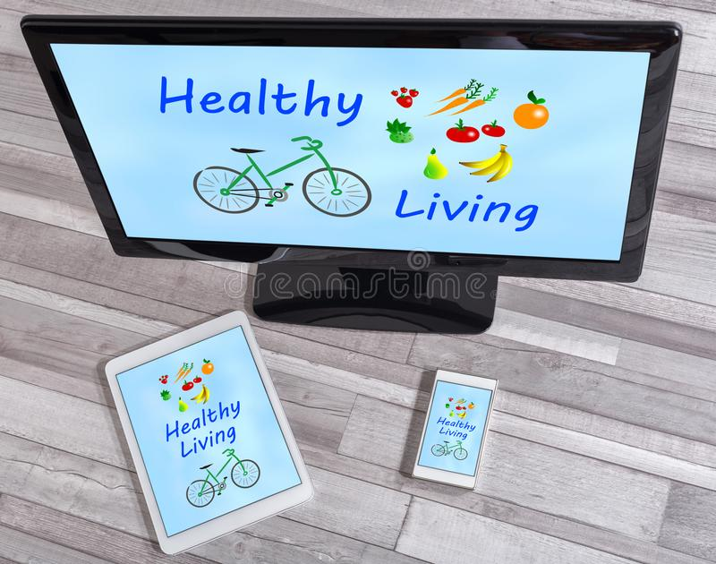 Healthy living concept on different devices stock photography