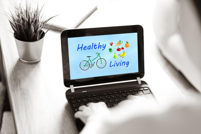 Healthy living concept on a laptop screen royalty free stock images