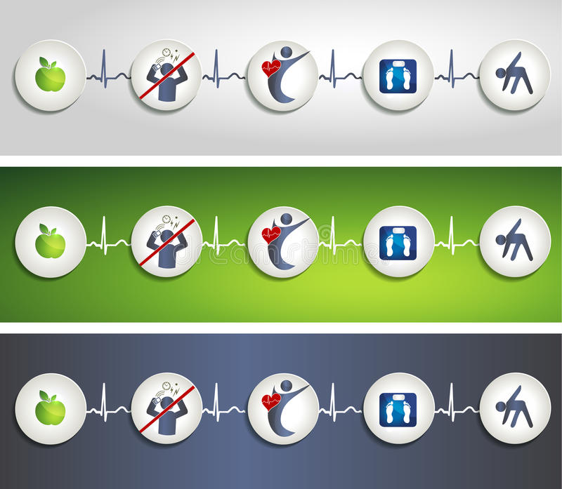 Healthy Living Concept Symbol Banners Royalty Free Stock Photos