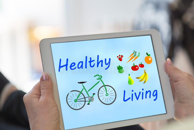 Healthy living concept on a tablet stock images