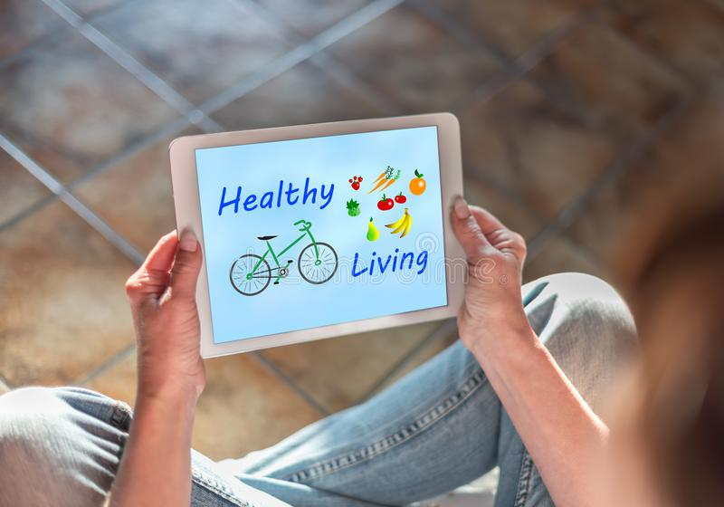 Healthy living concept on a tablet royalty free illustration