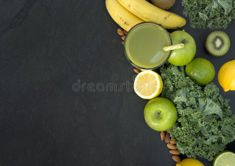 Healthy Living Green Smoothie with Fruit and Vegetables stock photos