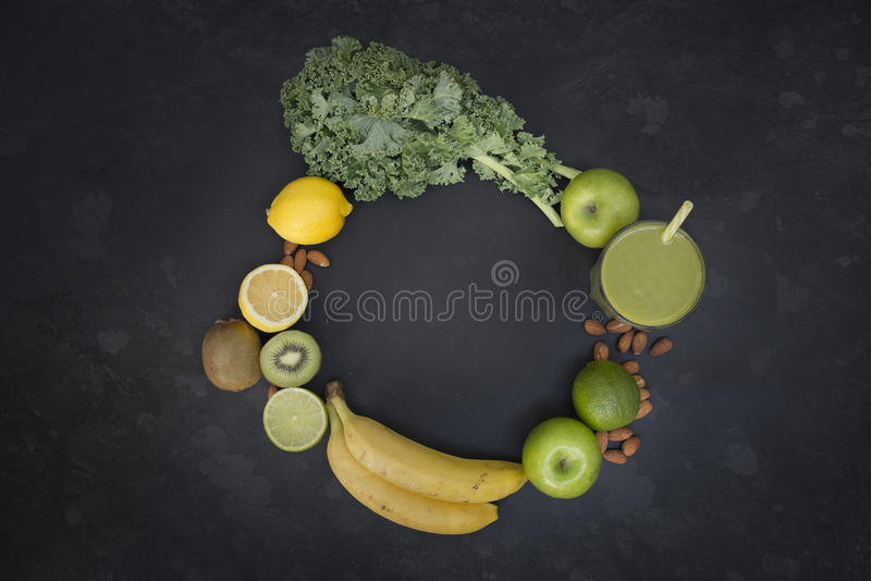 Healthy Living Green Smoothie with Fruit and Vegetables stock images