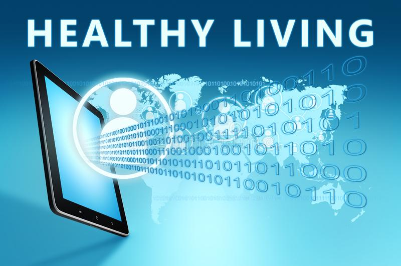 Healthy Living. Text with social icons and tablet computer on blue digital world map background. 3D Render Illustration, lifestyle, diet, exercise, fitness royalty free illustration