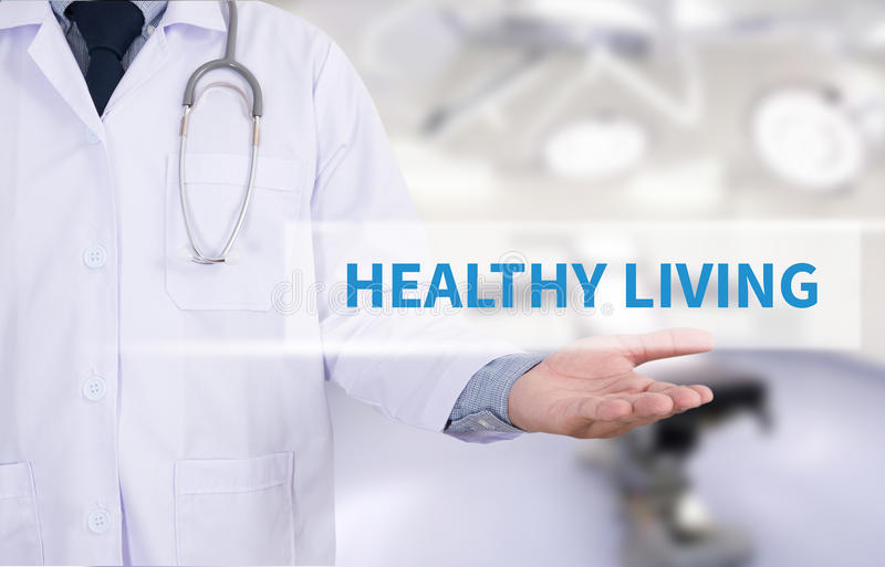 HEALTHY LIVING. Medicine doctor hand working royalty free stock image