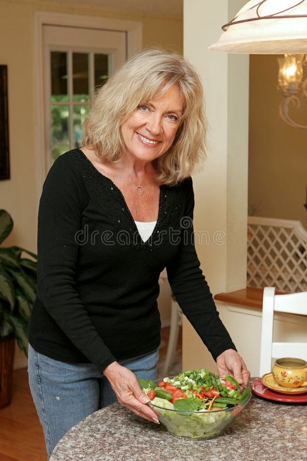 Healthy Living - Serving Salad stock photos