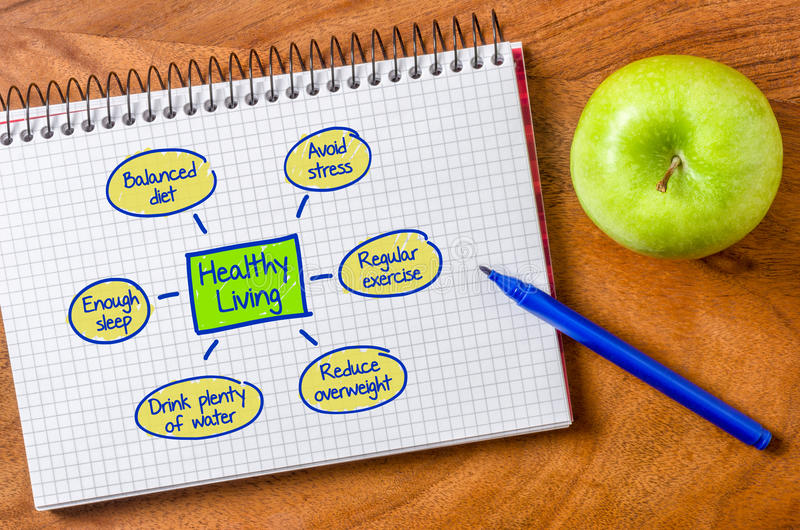 Healthy living. Written on a notepad royalty free stock photos