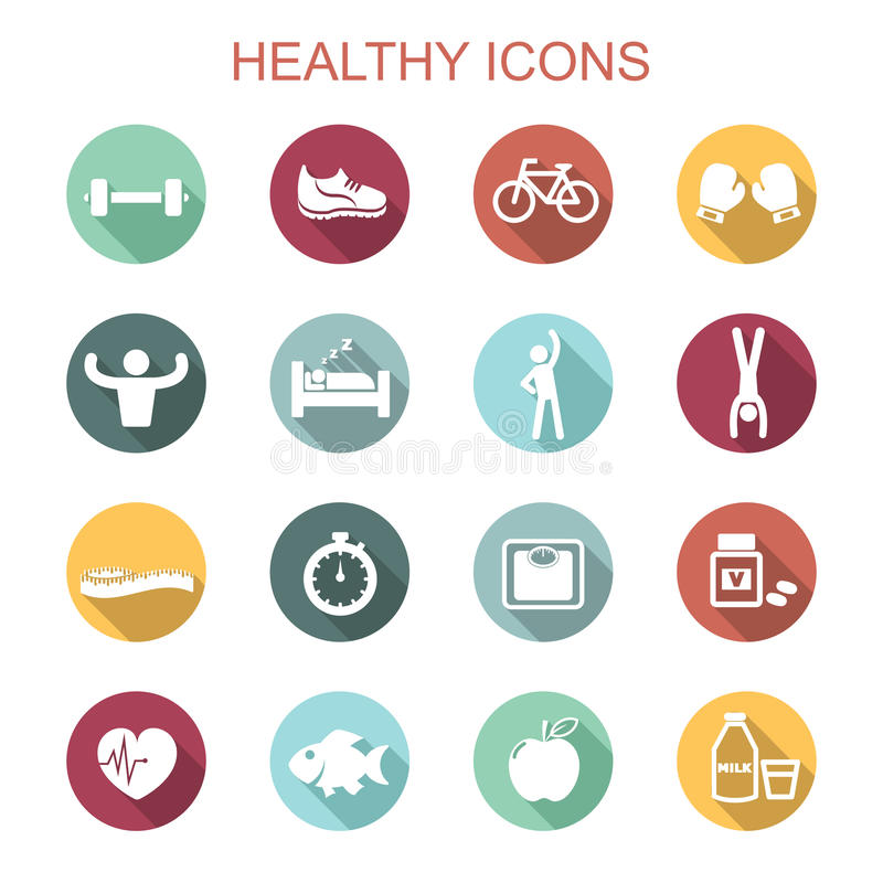 Healthy long shadow icons royalty free illustration