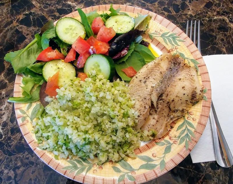 Tilapia, Cauliflower Rice and Side Salad - Low Carb Dinner royalty free stock image