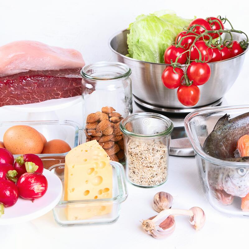 Healthy low carbs products. Atkins  or keto diet concept. Front view royalty free stock photo