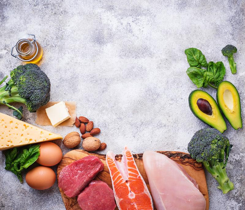 Healthy low carbs products. Ketogenic diet. Healthy low carbs products. Ketogenic diet concept. Top view, copy space royalty free stock image