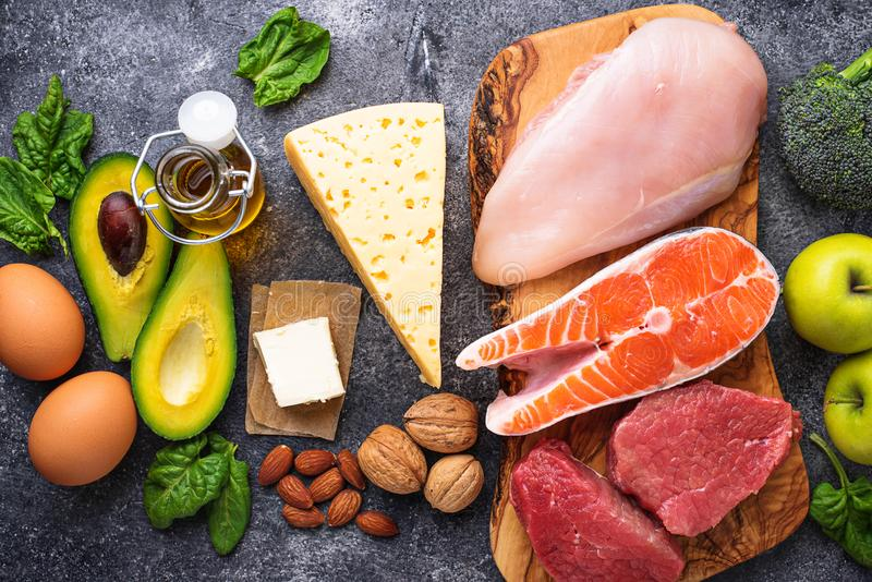 Healthy low carbs products. Ketogenic diet. stock photos