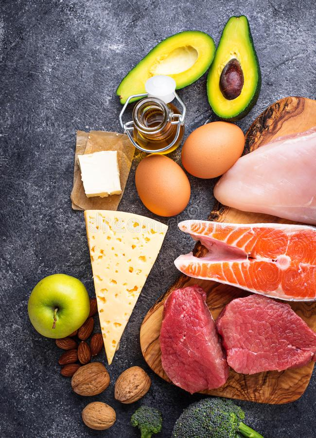 Healthy low carbs products. Ketogenic diet. Healthy low carbs products. Ketogenic diet concept. Top view royalty free stock images
