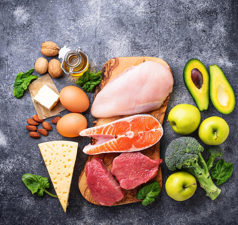 Healthy low carbs products. Ketogenic diet. royalty free stock photo