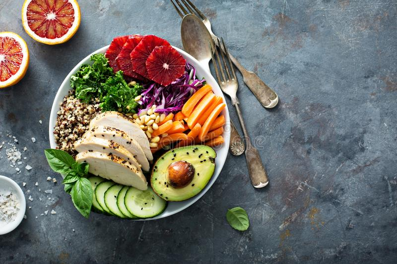 Healthy lunch bowl with chicken and quinoa royalty free stock photos