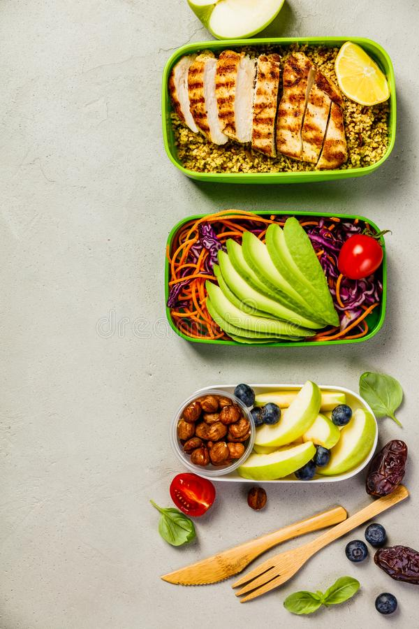 Healthy lunch in boxes stock image