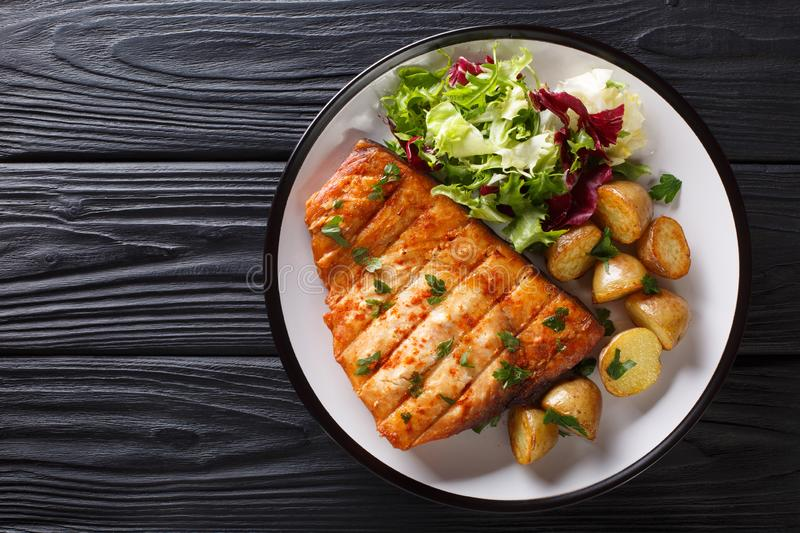 Healthy lunch grilled swordfish fillet with fried potatoes and fresh salad close-up on a plate. Horizontal top view stock image