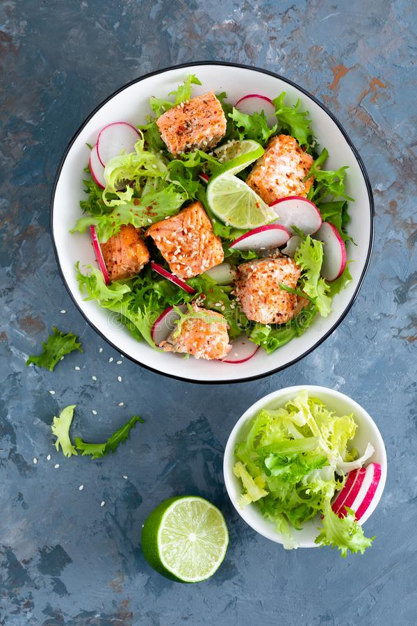 Healthy lunch salad with baked salmon fish, fresh radish, lettuce and lime stock photography