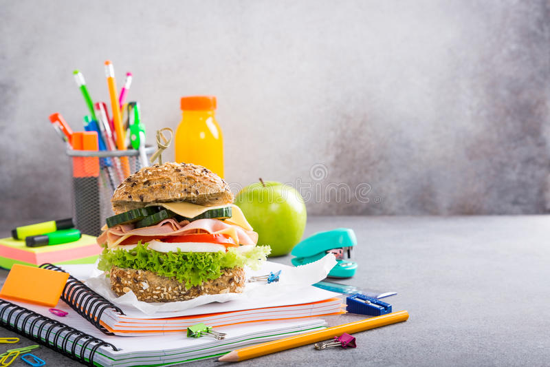 Healthy lunch for school with sandwich royalty free stock images