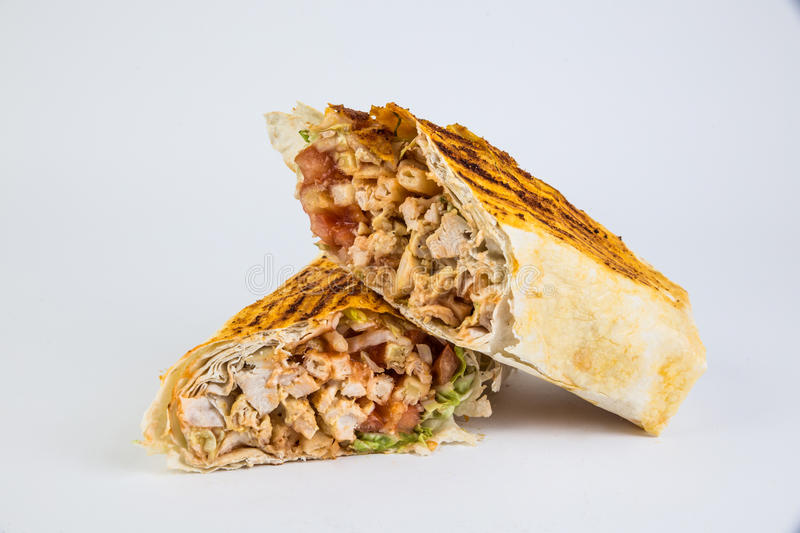 Healthy lunch snack. Grilled wraps on white royalty free stock photos