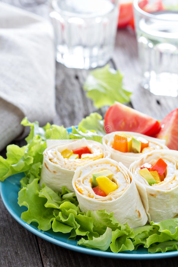 Healthy lunch snack tortilla wraps royalty free stock images