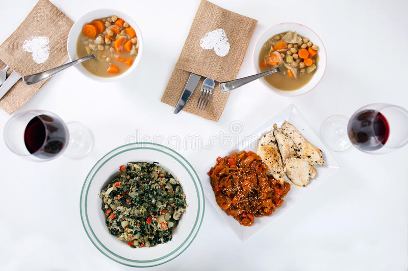Healthy lunch with soup, sauteed vegetables and chicken breast. Portrait of healthy lunch with soup, sauteed vegetables and chicken breast royalty free stock photo