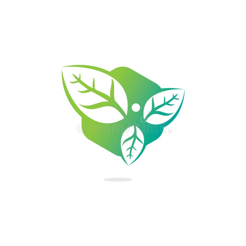 Healthy man and leaves figure vector logo design. vector illustration