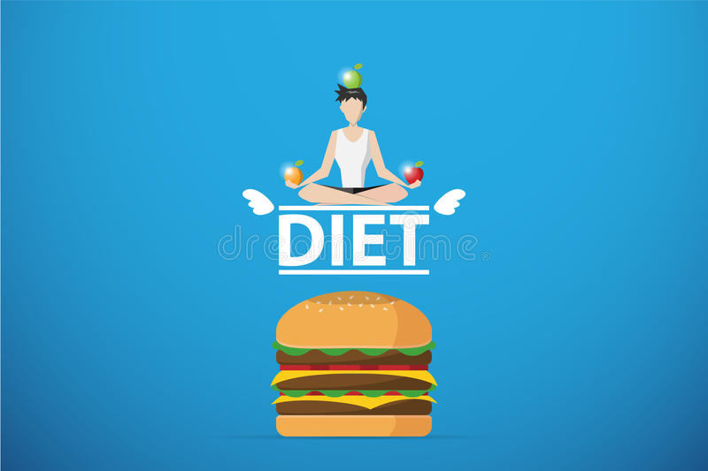 Healthy man meditating on diet word over hamburger, diet and health concept vector illustration
