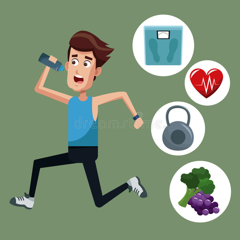 healthy man running sport icons royalty free illustration