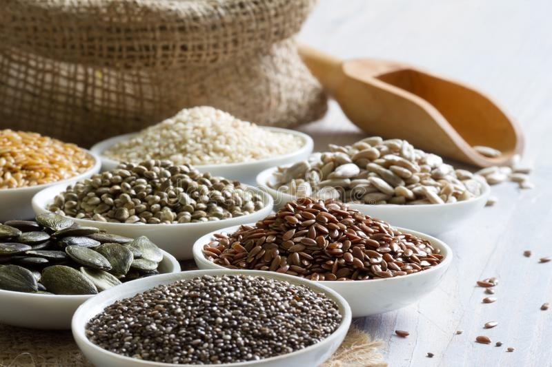 Healthy many seeds with chia diet lifestyle concept. Closeup royalty free stock photo
