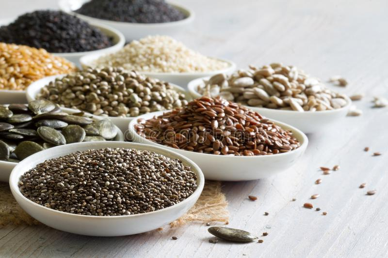 Healthy many seeds with chia diet lifestyle concept. Closeup stock images