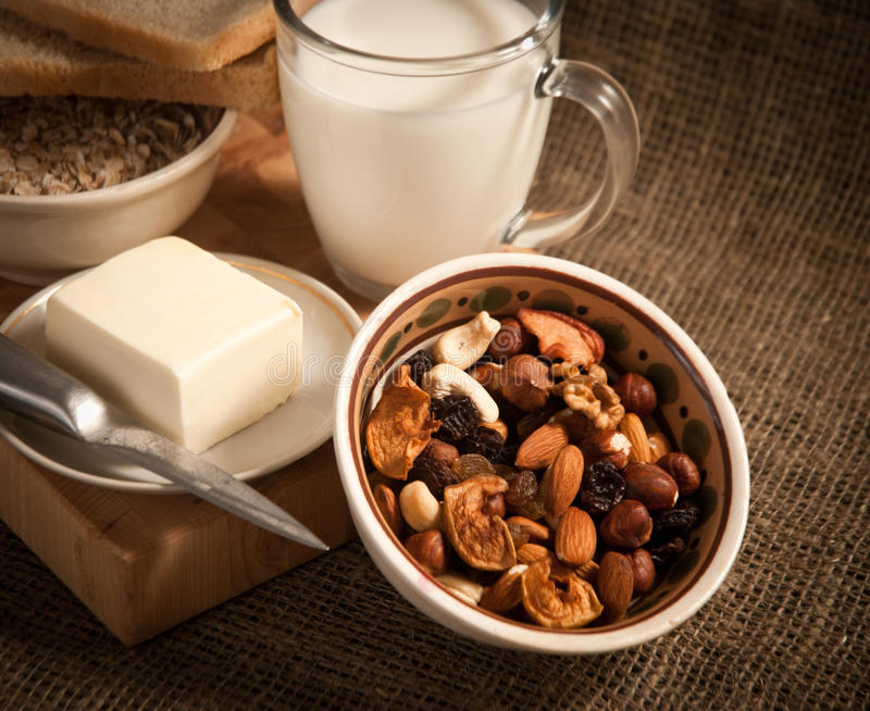 Download Healthy  Meal .bread,milk And Cereals Stock Image - Image: 28595805